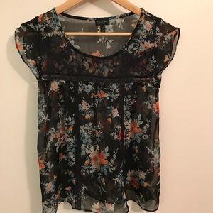 Jessica Simpson sheer black floral blouse